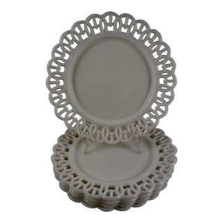 "19th Century Eapg Lace Edge Milk Glass 8"" Plates - Set of 5"