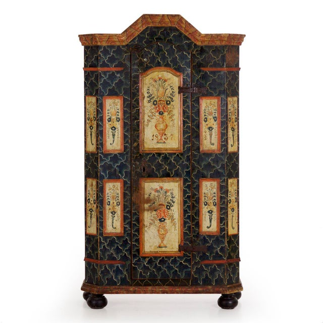 19th Century Antique Painted Armoire Cabinet Circa Late 19th Century For Sale - Image 13 of 13