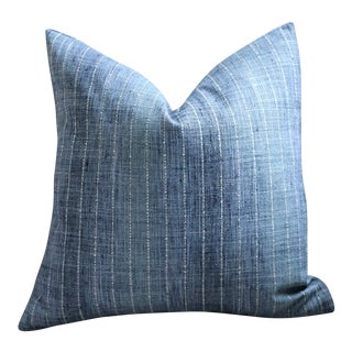 Ombré Blue Pinstripe Pillow Cover 22x22 For Sale