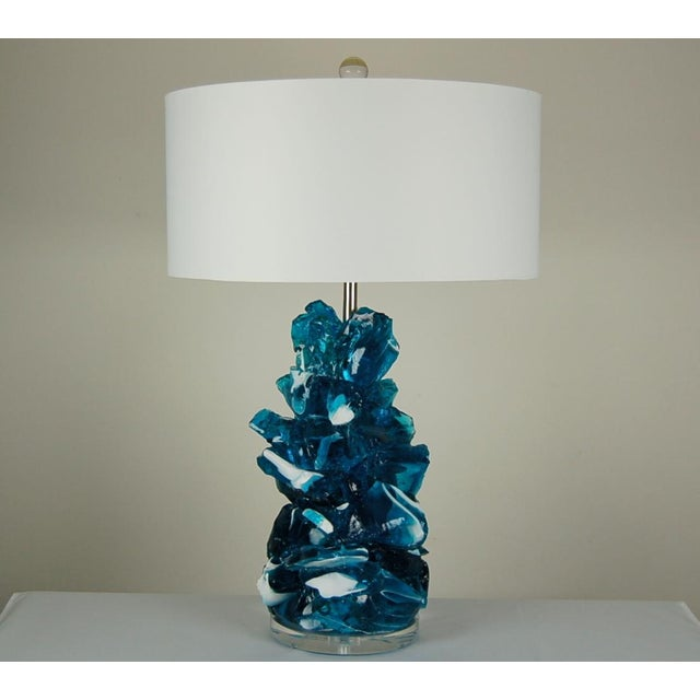 Mid-Century Modern Glass Rock Table Lamps by Swank Lighting Striped Blue For Sale - Image 3 of 10