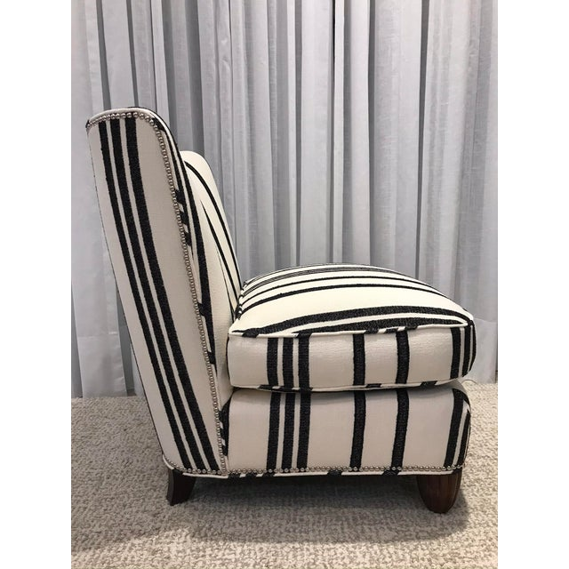 Barbara Barry Armless Chair with Schumacher Stripe Fabric For Sale - Image 10 of 13