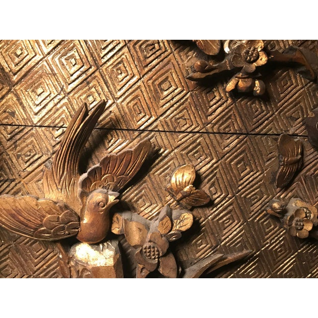 18th Century Antique Qing Chinese Carved Monumental Giltwood Temple Wall Panel Cassette For Sale - Image 9 of 12