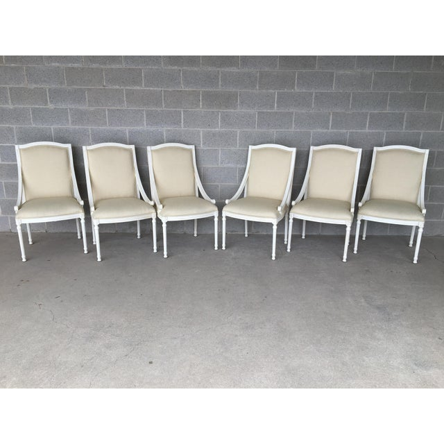 EJ Victor Set of 6 Luxar Dining Arm Chairs, 9301-27 Platinum 600 Finish. Excellent Condition. Showroom Clean Material and...
