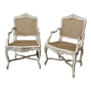 19th Century Country French Caned Painted Armchairs- A Pair For Sale