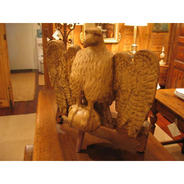 Handsome rustic Italian (Florence) painted carved wood eagle sculpture. Circa: 18th Century.