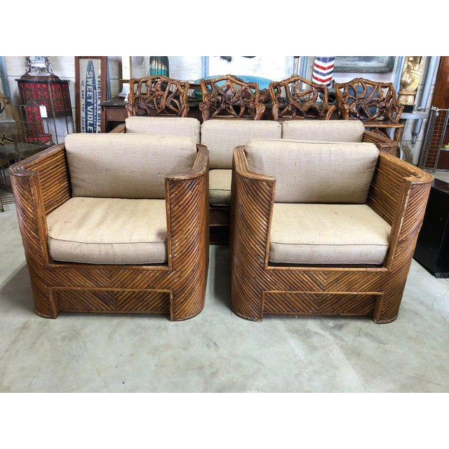 Mid-Century Italian Bamboo Club Chairs - a Pair For Sale - Image 4 of 5