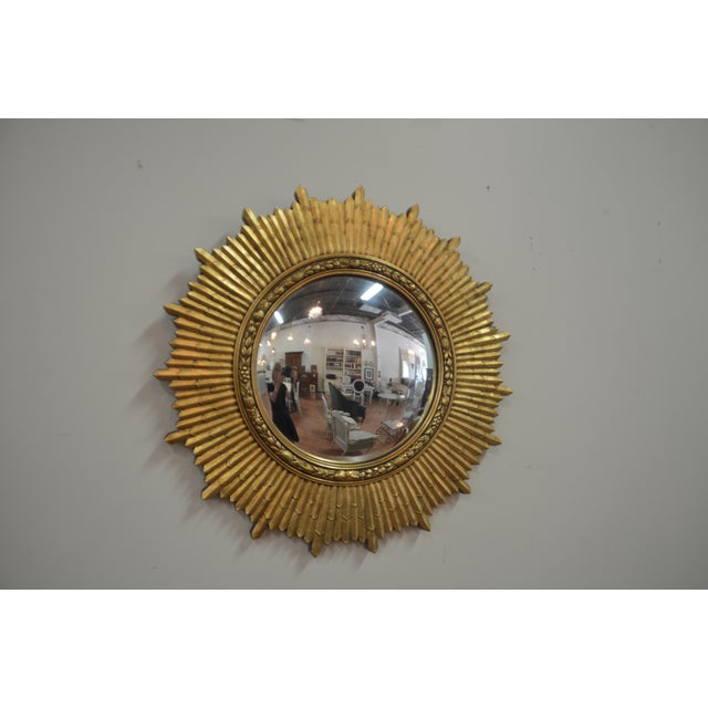 1950s Mid-Century Modern Gilded Sunburst Mirror For Sale In Buffalo - Image 6 of 6