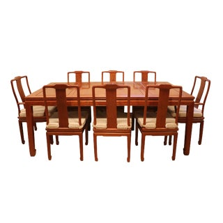 "1980's Chinese Rosewood 'Ming' Style Dining Set, Table & Eight Chairs (44""-80"") For Sale"