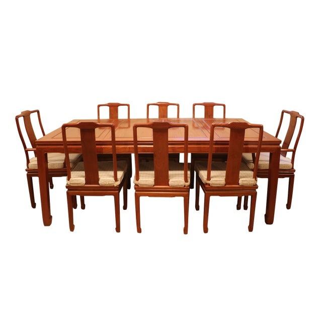 """1980's Chinese Rosewood 'Ming' Style Dining Set, Table & Eight Chairs (44""""-80"""") For Sale"""