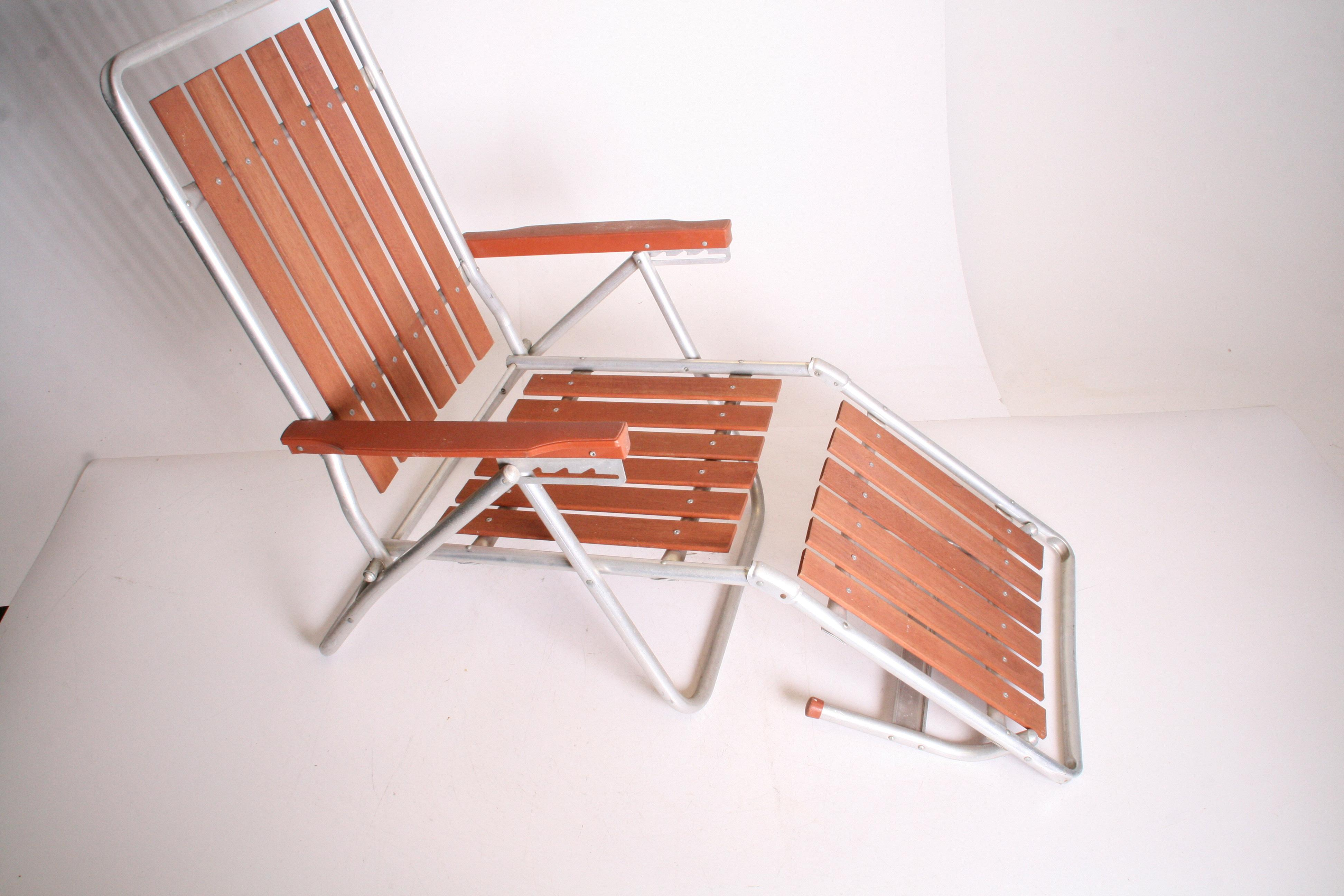 Ordinaire Mid Century Redwood Aluminum Folding Chaise Lounge Chair For Sale   Image 4  Of 11