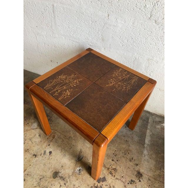 Brown Vintage Gangso Mobler Mid-Century Danish Modern Tile Top Side Table For Sale - Image 8 of 8