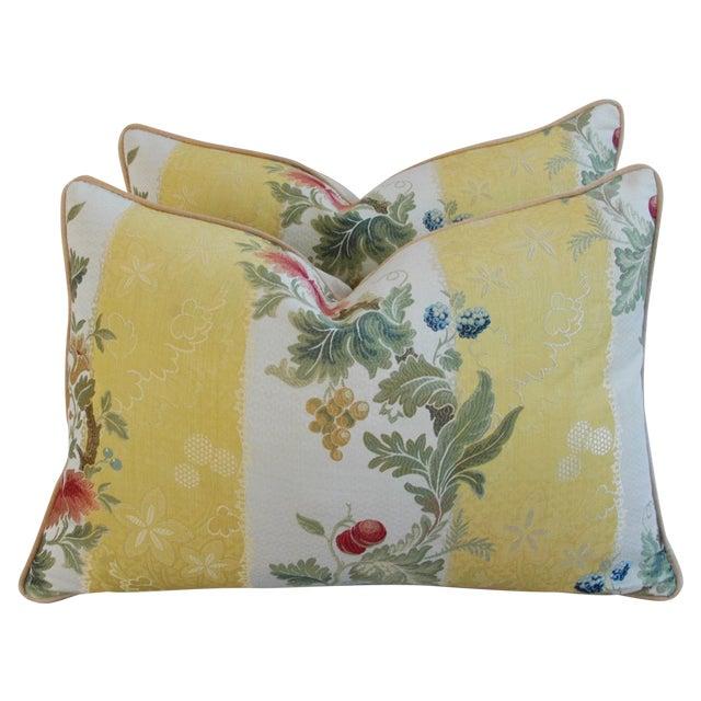 Designer Scalamandre Silk Lampas Pillows - Pair - Image 1 of 10