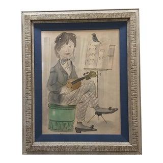 "Original Philippe Henri Noyer ""Girl With Violin"", 1967 For Sale"