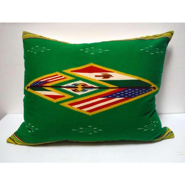 Large Mexican-American Indian Serape patriotic bolster pillow with American flag and wonderful graphics and colors. This...