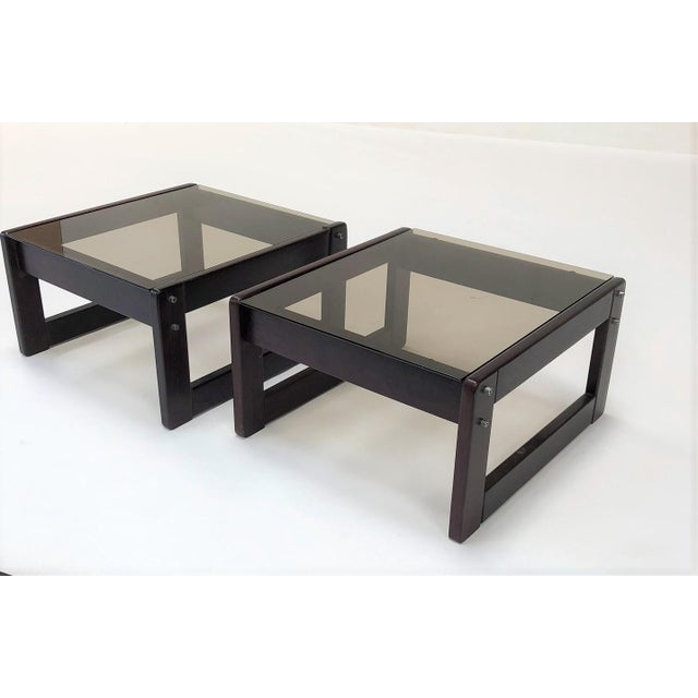 1960s Mid-Century Modern Percival Laver Rosewood and Glass Side Tables - a Pair For Sale - Image 13 of 13