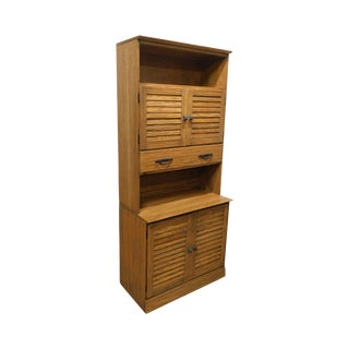 Brandt Ranch Oak Vintage 2 Piece Cabinet With Louvered Doors For Sale