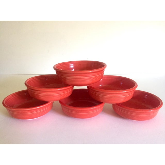 Vintage 1980's Fiesta Ware Homer Laughlin Persimmon Coral Coupe Cereal Soup Bowls - Set of 6 For Sale - Image 11 of 13