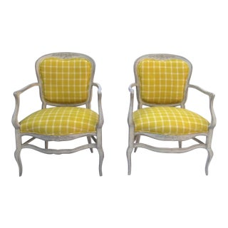 Pair of Vintage (1970's) French Painted Carved Bonne Femme Country Arm Chairs Pale Grey Paint For Sale