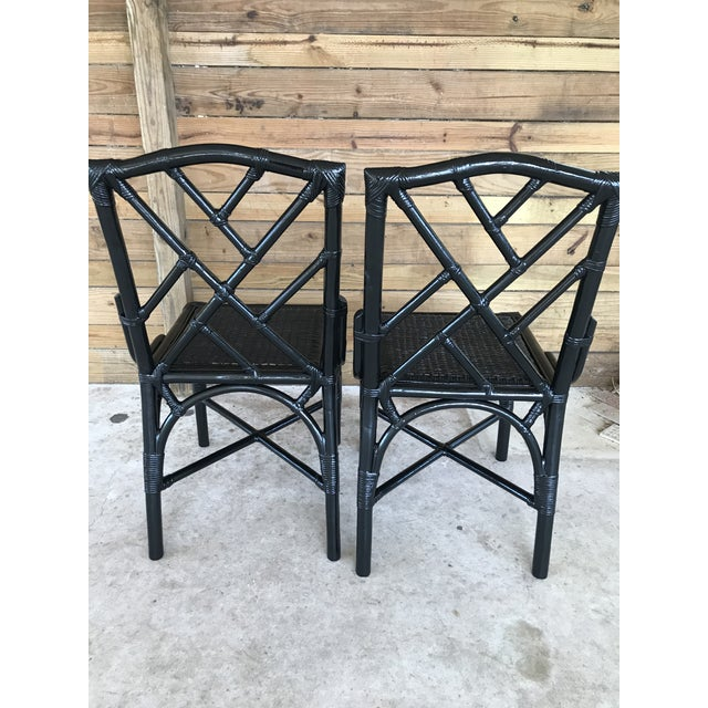 Chippendale Coastal Regency Rattan Black Lacquered Chinese Chippendale Chairs-A Pair For Sale - Image 3 of 10