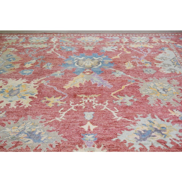 Vintage Turkish hand woven Oushak rug with allover design and silky soft texture.