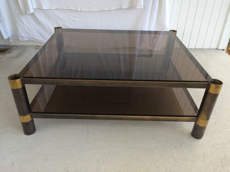 Karl Springer Two Tiered Smoked Glass Coffee Table   Image 2 Of 11