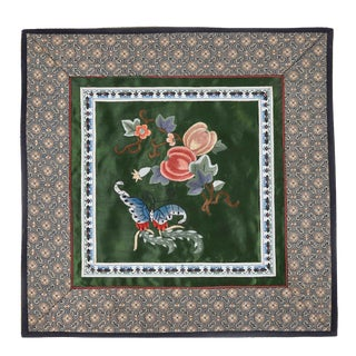 Vintage Asian Antique Silk Embroidery Cloth With Butterfly and Fruit Branch For Sale