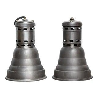 Vintage Industrial Pendant Lamps - A Pair For Sale