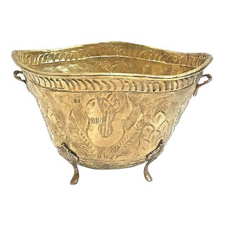 Antique Embossed Brass Cachepot For Sale