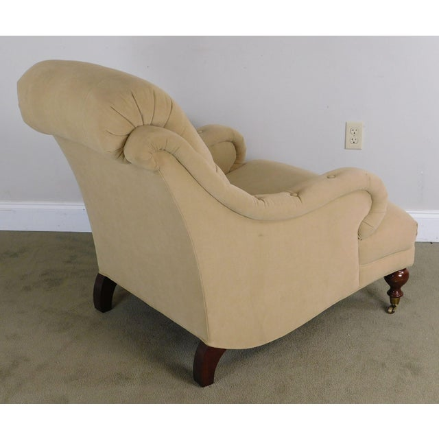 2000 - 2009 Sherrill English Regency Style Tufted Pair Lounge Chairs For Sale - Image 5 of 12