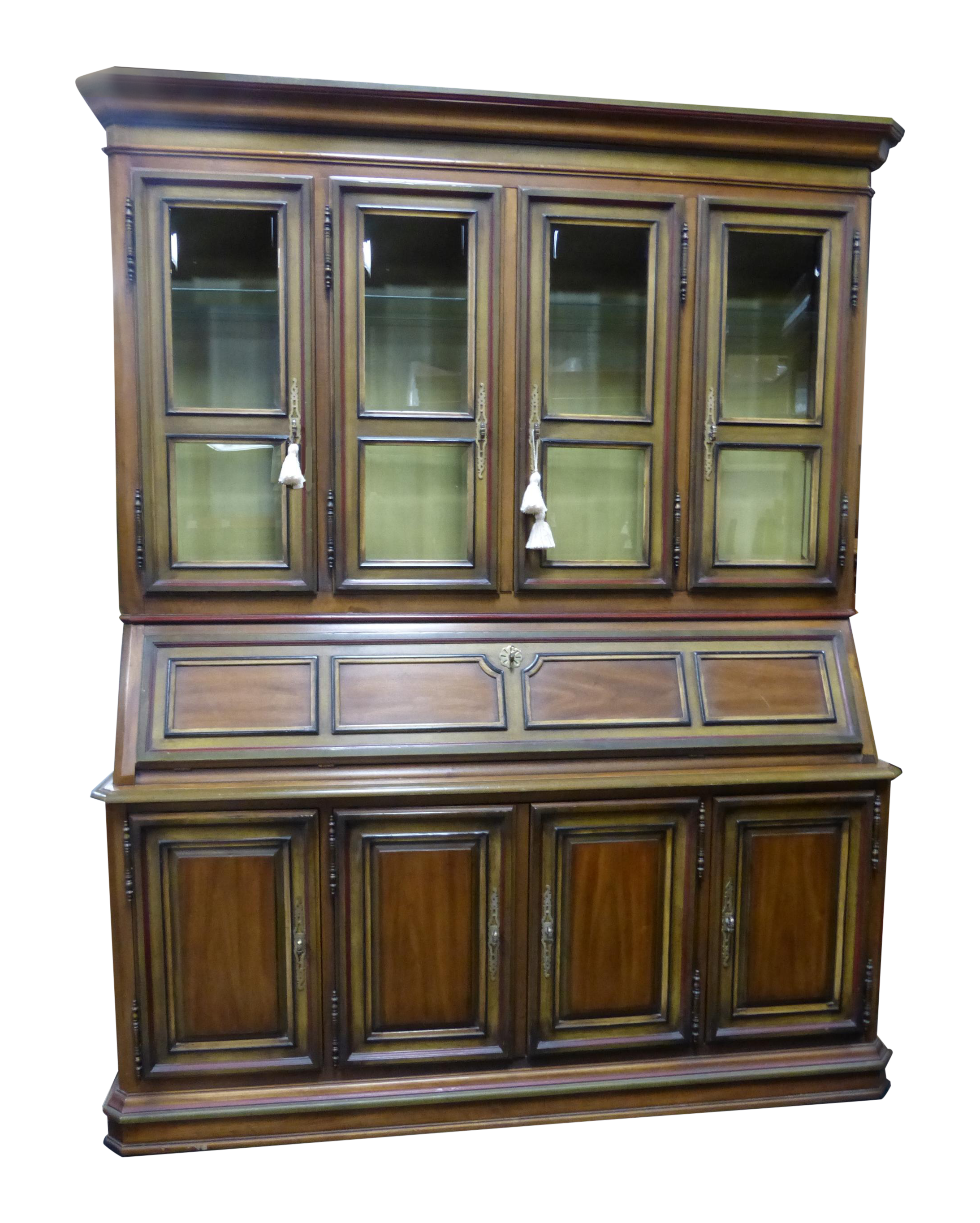 Vintage French Drexel China Cabinet Hutch With Drop Leaf Drawer