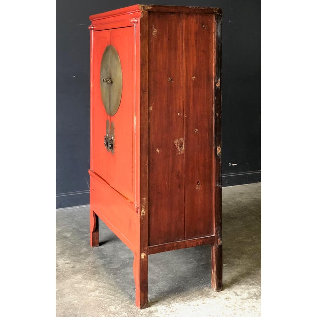 Antique Red Asian Cabinet For Sale - Image 9 of 13