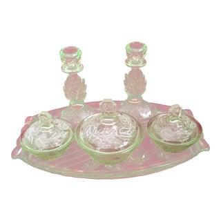 Light-Green Depression Glass Vanity Set For Sale