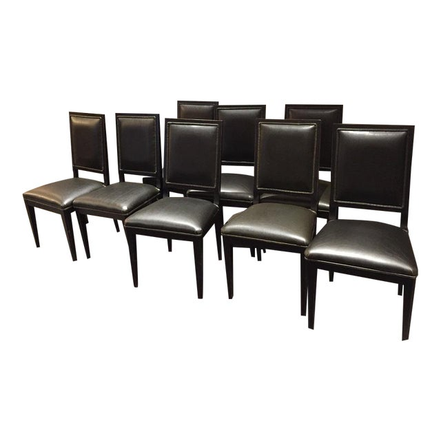 Crate And Barrel Sonata Bruno Black Leather Chairs Set Of 8 Chairish