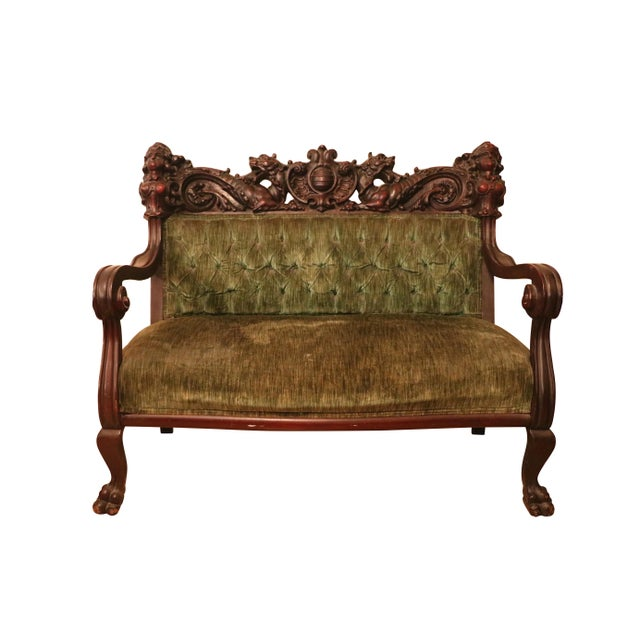A magnificent antique suite of hand carved solid mahogany 'Maiden Head' Settee/Love Seat and a pair of chairs attributed...