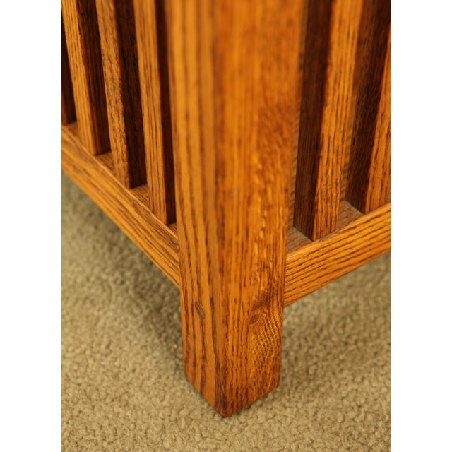 Mission Style Solid Oak Magazine Stand For Sale - Image 4 of 12