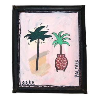 Original Abstract Pink and Green Painting of Palm Trees, Framed For Sale