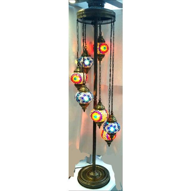 Brass Plated 7 Globe Tile Art Lamp - Image 5 of 6