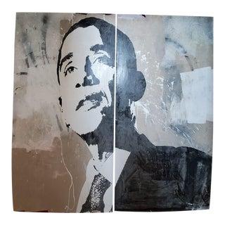 Dustin Spagnola Obama Painting 2pcs For Sale