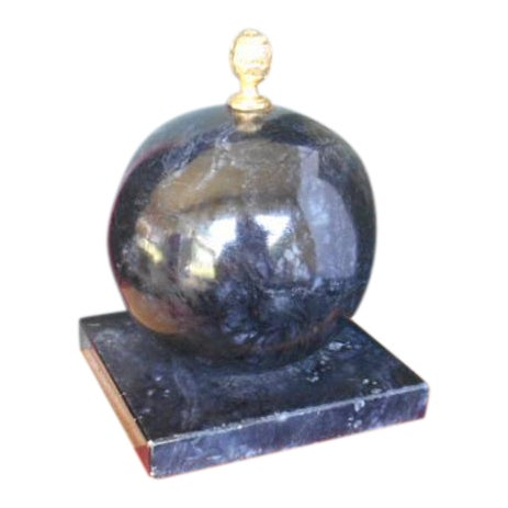 Alabaster Globe Bookend With Brass Finial - Image 1 of 7