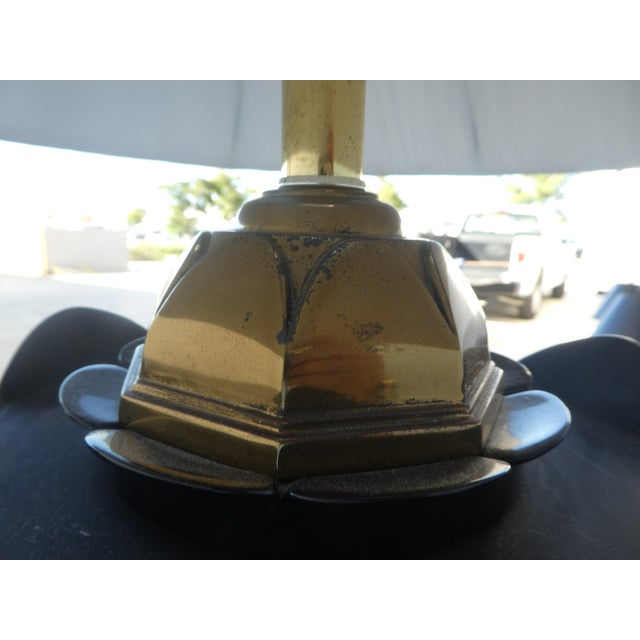 Black 70's Brass and Black Ceramic Decorator Accent Lamp For Sale - Image 8 of 13
