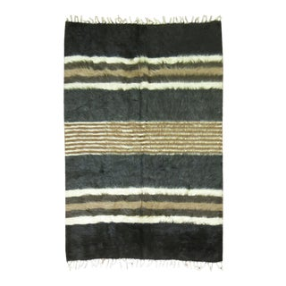 """Vintage Striped Mohair Rug / Throw - 4'4"""" x 6' For Sale"""