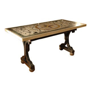 Italian Painted Coffee Table Base With Marble Top For Sale