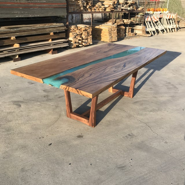 Boho Chic Wood & Resin River Table For Sale - Image 3 of 11