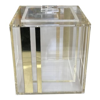 Vintage Lucite and Gold Ice Bucket With Tongs For Sale