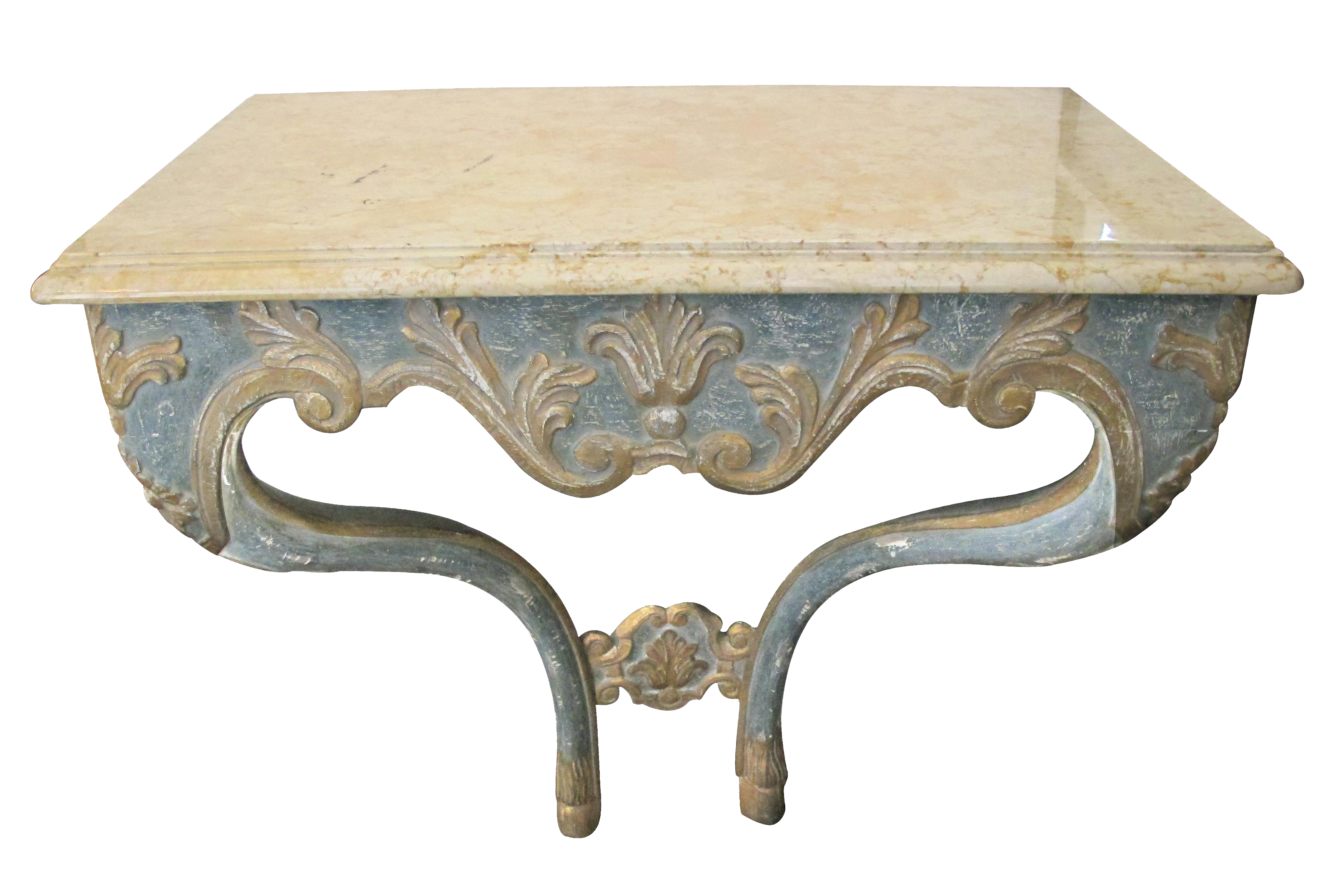 Merveilleux An Elegant Custom Made Italian Baroque Style Aqua And Ochre Painted Console  Table With Marble Top