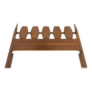 Young Manufacturing Mid Century Walnut and Burlwood Queen Headboard For Sale