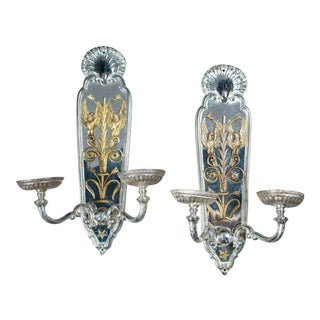1920s Caldwell Silver Plated Sconces with Gilt Bronze Design - a Pair For Sale
