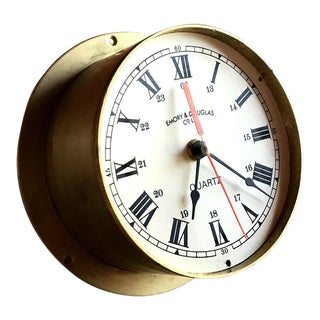 Brass Maritime Clock, Vintage Home Decor