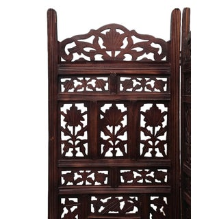 Walnut Stain Floral Folding Screen Preview