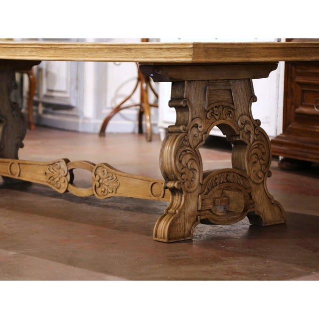 Baroque Early 20th Century French Carved Bleached Oak Marquetry Trestle Dining Table For Sale - Image 3 of 13